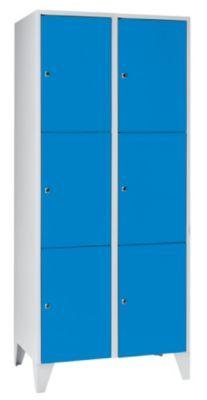 Schließfachschrank - 2 Abteile, 6 Fächer Breite 800 mm, lichtblau