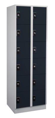 Garderobenschrank, Fachhöhe 275 mm - 2 Abteile à 300 mm Breite