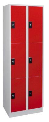 Garderobenschrank, Fachhöhe 540 mm - 2 Abteile à 300 mm Breite