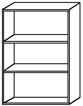 Hammerbacher Schrank- /Regalelement (Korpus) BASIC 3OH (BxTxH) 80x33x114,4cm 4500/6 Buche