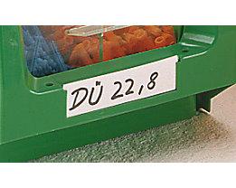 Etiketten - mit transparenter Kunststoffabdeckung - für Höhe 130 mm, VE 100 Stk