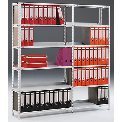 hofe Akten-Schraubregal, verzinkt - Regalhöhe 1850 mm, doppelseitig