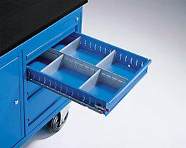 Schubladeneinteilungs-Set - 48, 78, 108, 168 mm hoch - je 1 Längs- und 4 Querteiler