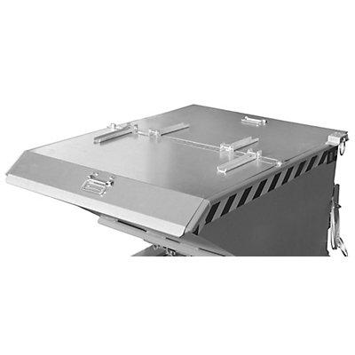 Klappdeckel, 2-teilig - für Behältergröße 0,3 m³ - verzinkt, Mehrpreis