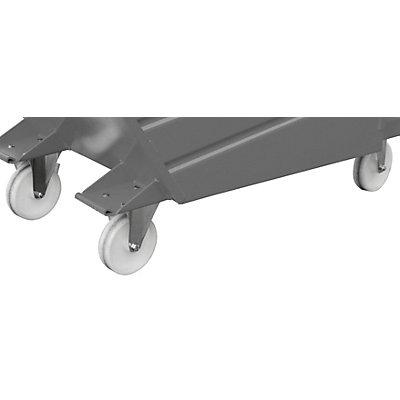 Train de roulement pour bennes basculantes et conteneurs à fond ouvrant - 2 roulettes pivotantes et 2 fixes - supplément de prix par jeu