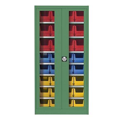 mauser Sichtfenster-Flügeltürenschrank - mit 32 Sichtlagerkästen