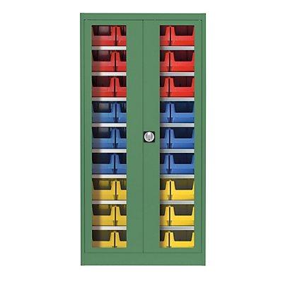 mauser Sichtfenster-Flügeltürenschrank - mit 36 Sichtlagerkästen
