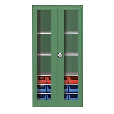 mauser Sichtfenster-Flügeltürenschrank - mit 12 Sichtlagerkästen