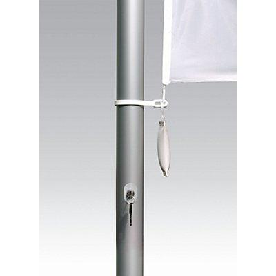 Mannus Fahnenmast aus eloxiertem Aluminium - mit Zylinderschloss, Ø 75 mm, mit drehbarem Ausleger