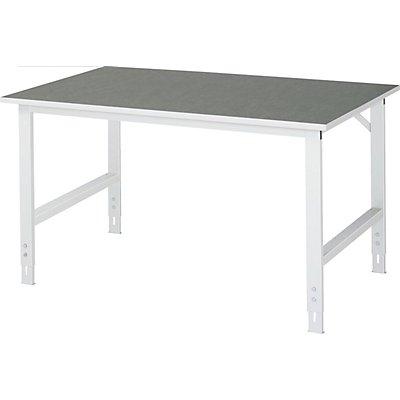 RAU Arbeitstisch, höhenverstellbar, 760 – 1080 mm, Linoleum-Platte