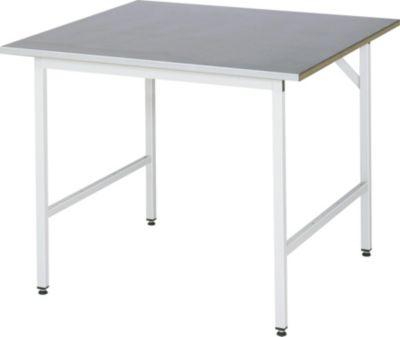 RAU Arbeitstisch, höhenverstellbar - 800 – 850 mm, Stahlblechbelag-Platte