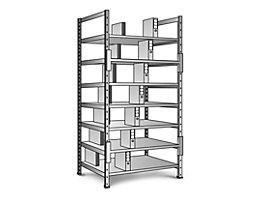 Ordner- und Archiv-Steckregal, verzinkt - Höhe 2640 mm, doppelseitig - Boden-BxT 1000 x 600 mm, Grundfeld