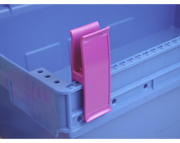 Personalklammer, VE 50 Stk - breit POM, L, verkehrspurpur