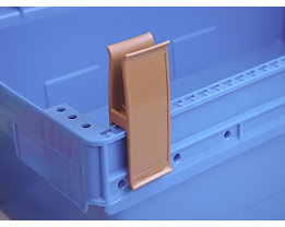 Personalklammer, VE 50 Stk - breit POM, L, ockerbraun
