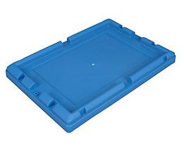 Behälterdeckel, Polypropylen - BxLxH 330 x 480 x 46,5 mm, VE 4 Stk, blau