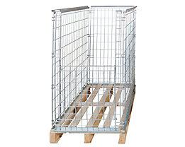 Gitter-Aufsatzrahmen für EUR-Tauschpalette - mit Klappe an 1 Frontwand, Nutzhöhe 1160 mm