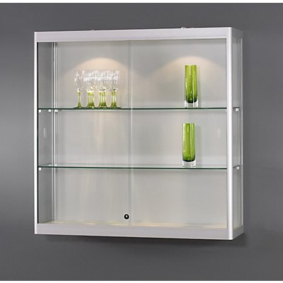 SDB Wandvitrine, LED-Beleuchtung - BxTxH 1000 x 300 x 1000 mm, 2 x 5 W, Leuchtkopf-Ø 50 mm