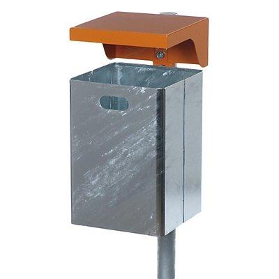 Abfallbehälter für außen, feuerverzinkt - Haube orange, verzinkt pulverbeschichtet RAL 2000