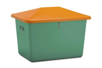 CEMO Streugutbehälter aus GfK - Volumen 700 l, ohne Entnahmeöffnung, Behälter grün