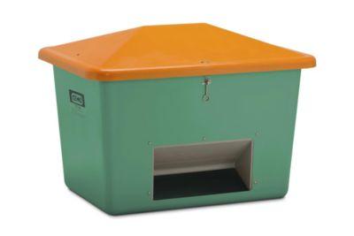 CEMO Streugutbehälter aus GfK - Volumen 700 l, mit Entnahmeöffnung, Behälter grün