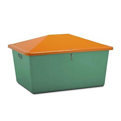 CEMO Streugutbehälter aus GfK - Volumen 1500 l, ohne Entnahmeöffnung, Behälter grün