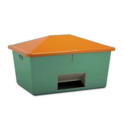 CEMO Streugutbehälter aus GfK - Volumen 1500 l, mit Entnahmeöffnung, Behälter grün