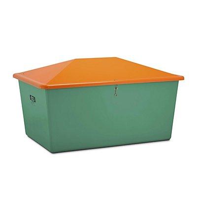 CEMO Streugutbehälter aus GfK - Volumen 2200 l, ohne Entnahmeöffnung, Behälter grün