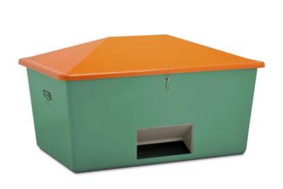 CEMO Streugutbehälter aus GfK - Volumen 2200 l, mit Entnahmeöffnung, Behälter grün