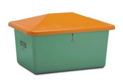 CEMO Streugutbehälter aus GfK - Volumen 550 l, ohne Entnahmeöffnung, Behälter grün