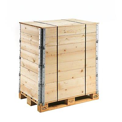 Holzaufsatzrahmen für Palette im Euroformat - diagonal klappbar, mit 4 Scharnieren