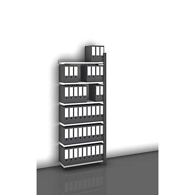 hofe Akten-Steckregal, einseitig, anthrazitgrau - Fachbreite 750 mm, 6 Böden