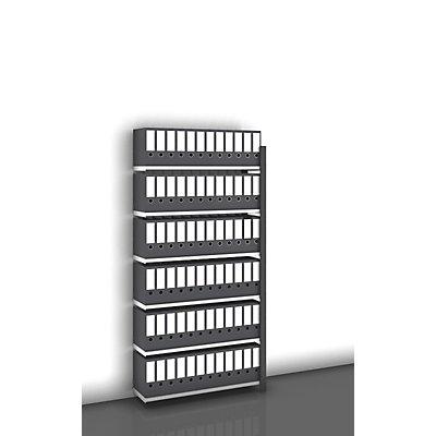 hofe Akten-Steckregal, einseitig, anthrazitgrau - Fachbreite 1000 mm, 6 Böden