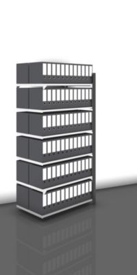 Akten-Steckregal, beidseitig, anthrazitgrau - Fachbreite 1000 mm, 6 Böden