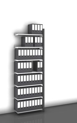 Akten-Steckregal, einseitig, anthrazitgrau - Fachbreite 750 mm, 7 Böden