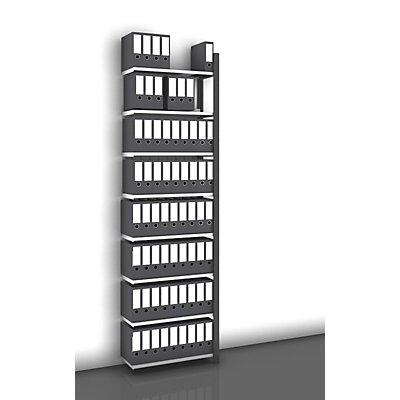 hofe Akten-Steckregal, einseitig, anthrazitgrau - Fachbreite 750 mm, 8 Böden