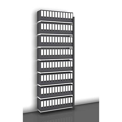 hofe Akten-Steckregal, einseitig, anthrazitgrau - Fachbreite 1000 mm, 8 Böden