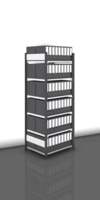 Akten-Steckregal, beidseitig, anthrazitgrau - Fachbreite 750 mm, 6 Böden