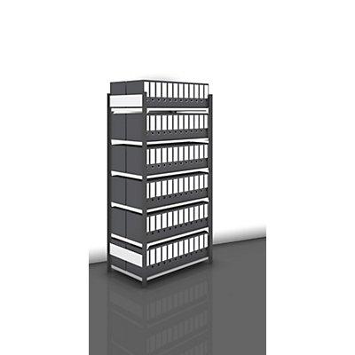 hofe Akten-Steckregal, beidseitig, anthrazitgrau - Fachbreite 1000 mm, 6 Böden