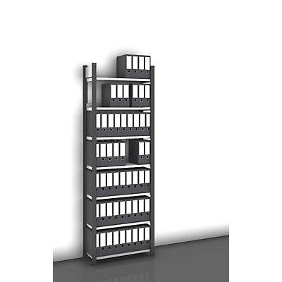 hofe Akten-Steckregal, einseitig, anthrazitgrau - Fachbreite 750 mm, 7 Böden