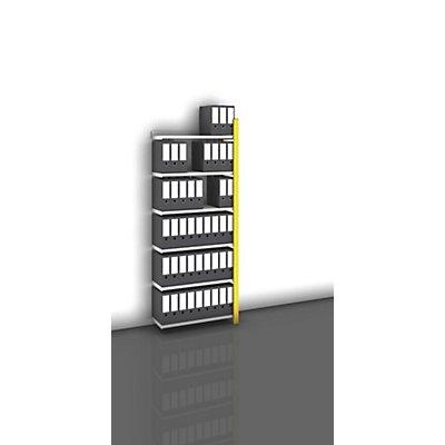 hofe Akten-Steckregal, einseitig, melonengelb - Fachbreite 750 mm, 6 Böden