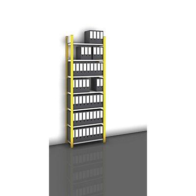 hofe Akten-Steckregal, einseitig, melonengelb - Fachbreite 750 mm, 7 Böden