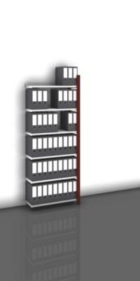 Akten-Steckregal, einseitig, purpurrot - Fachbreite 750 mm, 6 Böden
