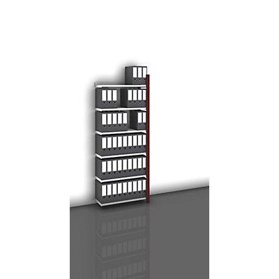 hofe Akten-Steckregal, einseitig, purpurrot - Fachbreite 750 mm, 6 Böden