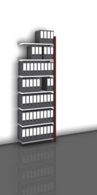 Akten-Steckregal, einseitig, purpurrot - Fachbreite 750 mm, 7 Böden