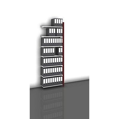 hofe Akten-Steckregal, einseitig, purpurrot - Fachbreite 750 mm, 7 Böden