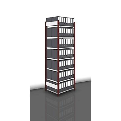 hofe Akten-Steckregal, beidseitig, purpurrot - Fachbreite 750 mm, 7 Böden