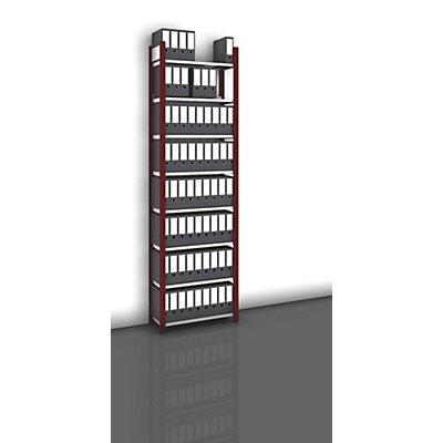 hofe Akten-Steckregal, einseitig, purpurrot - Fachbreite 750 mm, 8 Böden