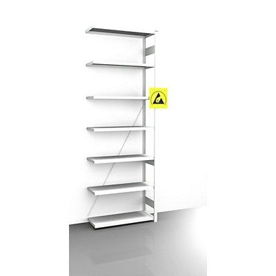 EUROKRAFT Rayonnage emboîtable antistatique - hauteur rayonnage 3000 mm, rayonnage additionnel