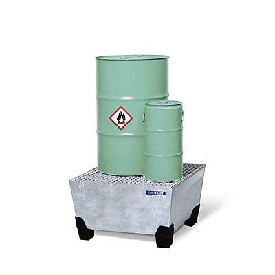 EUROKRAFT Stahl-Auffangwanne mit PP-Füßen - LxBxH 840 x 815 x 485 mm