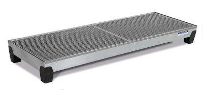 EUROKRAFT Stahl-Auffangwanne mit PP-Füßen - LxBxH 2470 x 815 x 255 mm